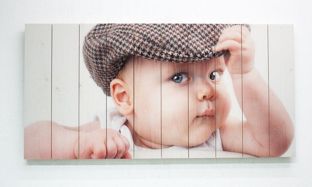 Babyfoto op whitewash vurenhout