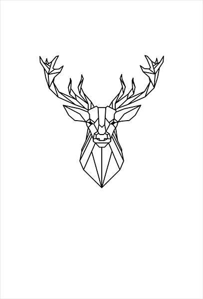 textielposter edelhert illustratie