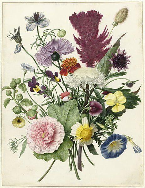boeket bloemen oude meester textielposter