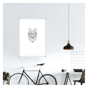 Textielposter - Wolf grafisch