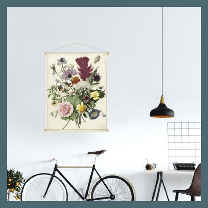 Textielposter - boeket bloemen