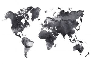 wereldkaart textielposter aquarel zwart wit