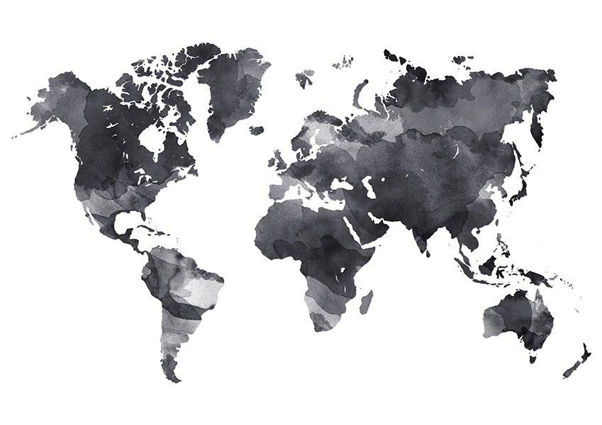 wereldkaart | aquarel - textielposter