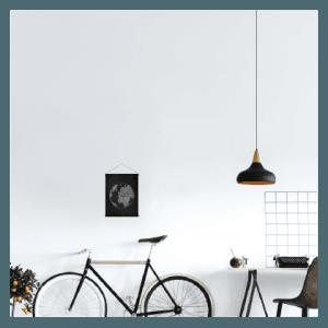 textielposter wereldbol krijtbord zwart wit