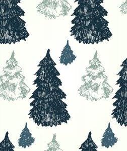 Textielposter Kerst Dennenbos