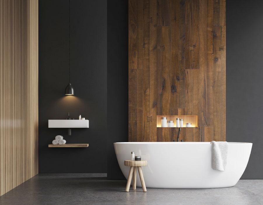 Verschillende designs gecombineerd in de badkamer