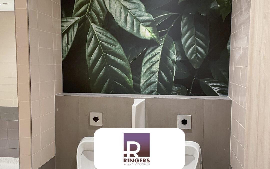 Geprinte wanden in toiletten winkelcentrum